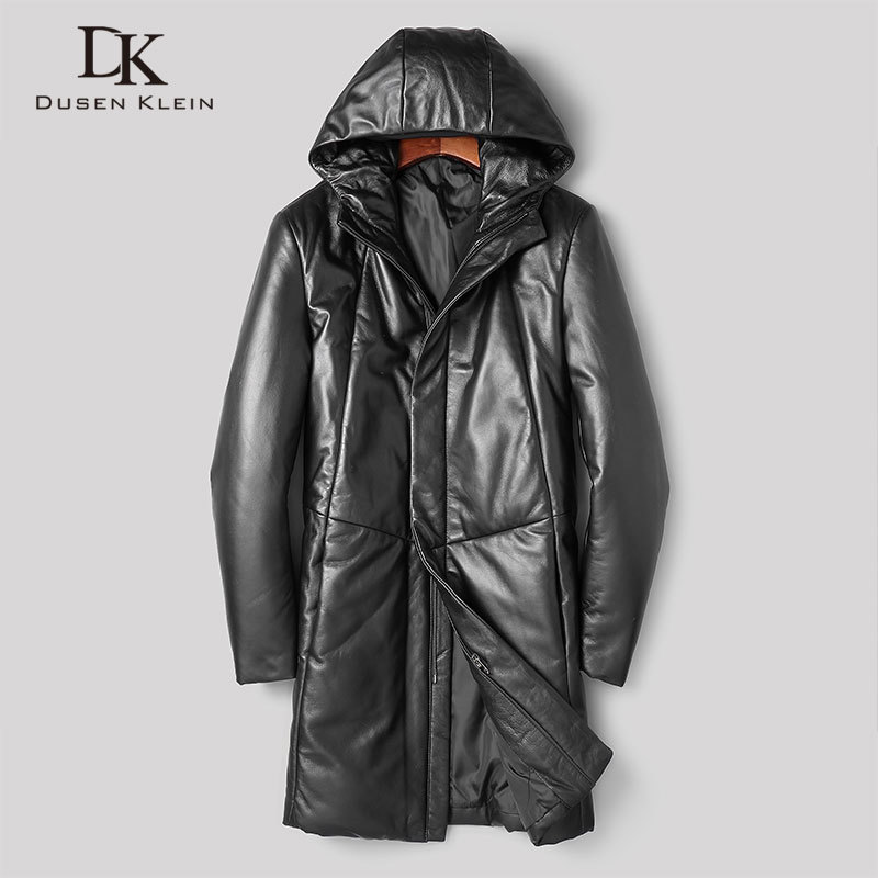 Dusen Klein Men Genuine Leather Down Jackets Hooded Winter Coat Outerwear Sheepskin 275