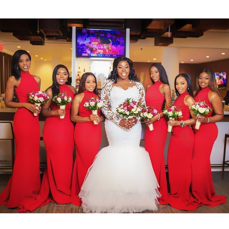 African Black Girls   Bridesmaid     Dresses   Sleeveless High Neck Red Satin Long Mermaid Formal Party Gown Robe demoiselle d'honneur