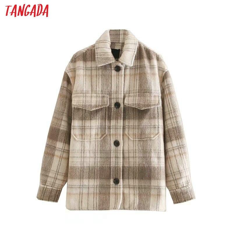 Tangada Women Vintage Plaid Oversize Jacket Casaco Feminino Jaqueta Feminina Pocket Elegant Female Outwear 4Q01