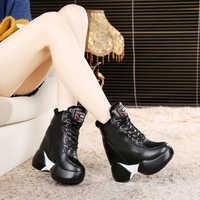 12cm noir Chaussures Femmes haut baskets Femmes plate-forme bottines Basket Femme Chaussures Femmes hauteur augmenter peluche Chaussures