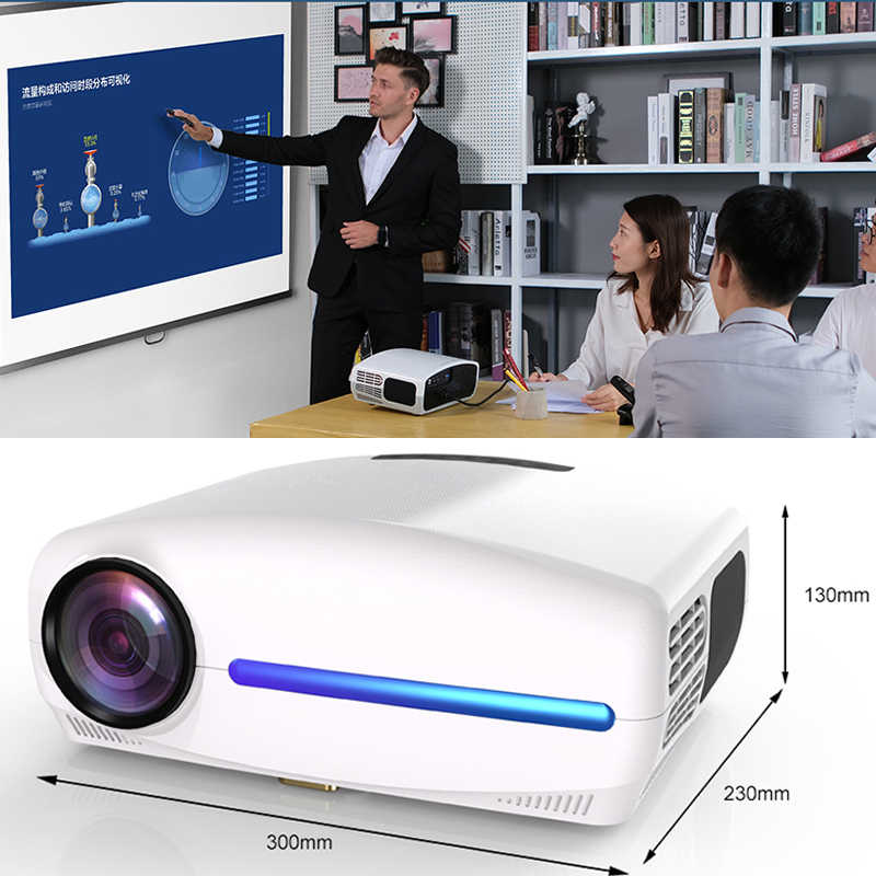 Smartldea S1080 1920*1080P LED Proyektor HD, 4D Digital Keystone, Android 9.0 WiFi Opsional, HDMI Smart Projector, 3D Rumah Beamer
