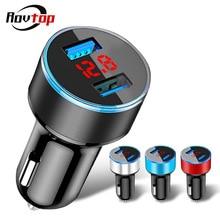 Rovtop универсальное быстрое двойной Переходник USB для зарядки в машине светодиодный Дисплей 5V 3.1A Авто ABS автомобильное usb-устройство для зарядки телефона для iPhone huawei Z4