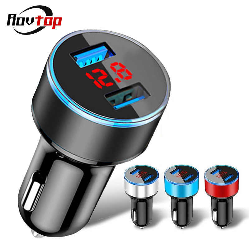 Rovtop Universal Fast Dual USB Car Charger Adapter LED Display 5V 3.1A Auto ABS USB Car Phone Charger for iPhone Huawei Z2