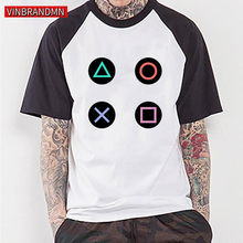 Trendi Video Game PS Tombol Kontrol T-shirt Bermain Stasiun Mari Kita Bermain T Shirt Pria Musim Panas 2020 PS1/ 2/3/4 Gamer Penggemar Tops Tee Tshirt(China)