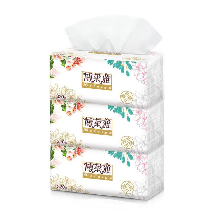 3pc / Bag Breeze Pumped Paper Logs 3 Packs 320 Mentions 100 Pumps 3 Layers Of Tissue Paper Toilet Paper Pumped Napkins Tissue
