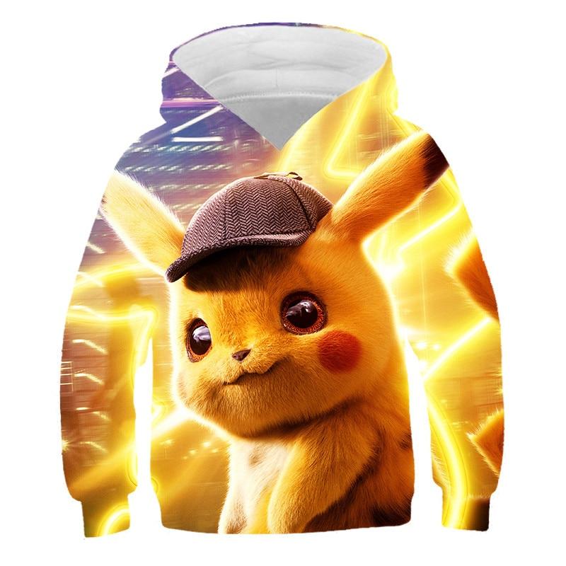 New Anime Movie 2019 Pokemon Detective Pikachu Kids Hoodie 3D Printed Sweatshirts Harajuku Children Boy/girl Casual Hoodies