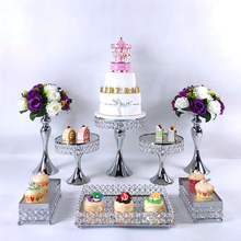 Decoration-Tools Tray Cake-Stand-Set Dessert-Display Wedding-Crystal-Mirror Tier-3-Tier