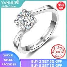 YANHUI حلقة افتتاح بسيطة الفضة الحد الأدنى 925 مجوهرات سوليتير 1ct مختبر الماس المشاركة قابل للتعديل خواتم للنساء XR056