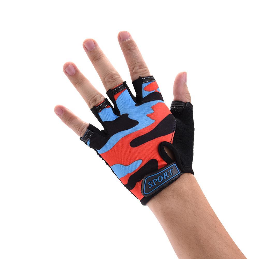 2019 High Quality Children Kids Bike Gloves Half Finger Breathable Camouflage Children's Riding Half Finger Gloves