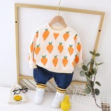 цена на 2020 New Boys Girls Winter Clothing Sets Baby Clothes Suits Infant Herfst Pluche Warm Tops Broek 2Pcs/sets Children Kids Costume