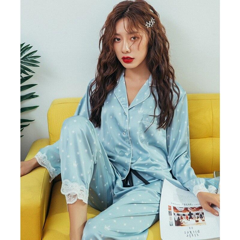 Youhottest Stars Printed Women Long Sleeve Sleepwear Silk Pajamas