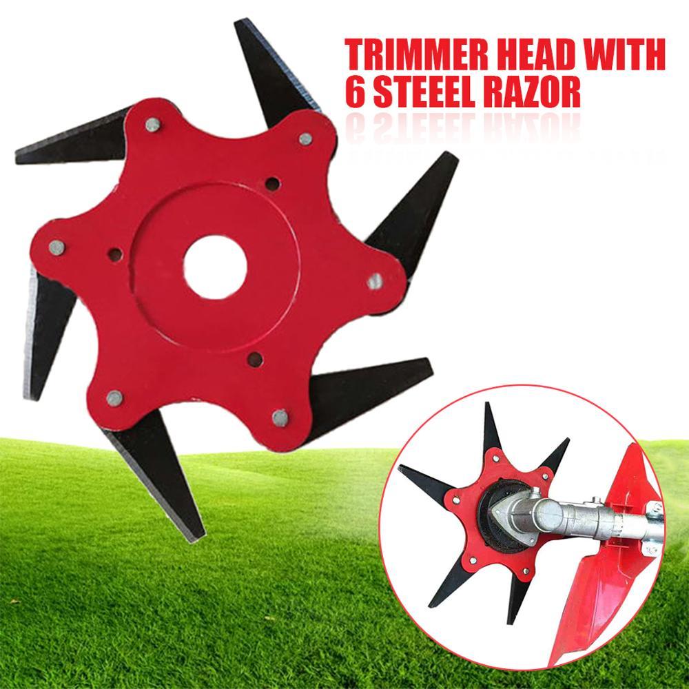 6 cuchillas recortadora de césped cabezal cortador 65Mn cepillo de hierba cabezal de corte de jardín herramientas eléctricas accesorios para cortacésped