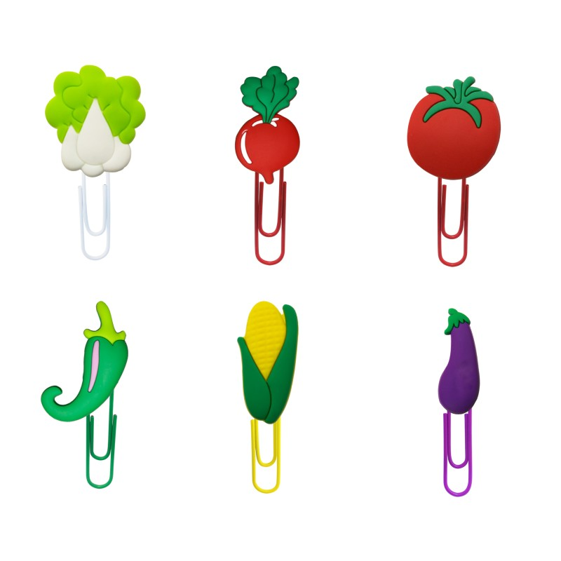 8pcs Vegetables Bookmarks For Kids Cute Book Mark Cabbage Corn Eggplant Paper Clips For School Teacher Office Children's Gift