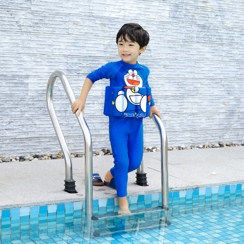 19 New Style Hot Sales One-piece Buoyancy Bathing Suit Long Sleeve Trousers Send Swimming Cap Sun-resistant Doraemon BOY'S KID'S