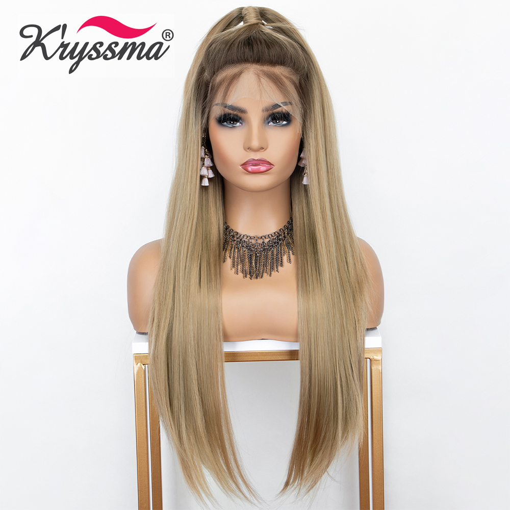 Kryssma 13×6 Lace Front Wig Ombre Blonde Long Straight Synthetic Wigs For Women Cosplay Wig With Dark Roots Heat Resistant Fiber