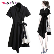 Dress Women Casual V-Neck Black Shirt 2019 Patchwork Belt Office Lady A-Line Dress Asymmetrical Stripe Hem Women Dresses deep v neck asymmetrical hem dress