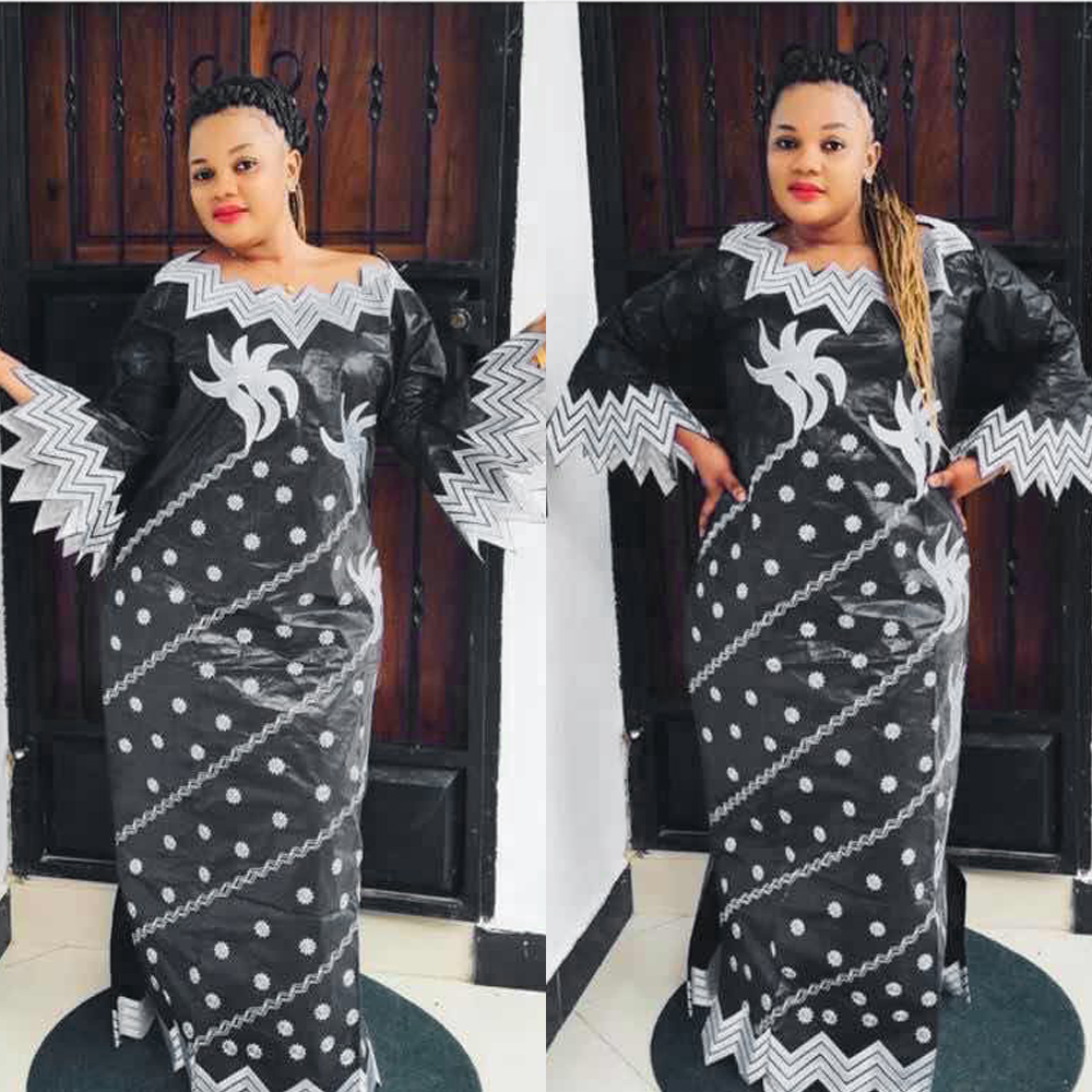 H&D African Plus Size Dress Women Maxi Robe Bazin Riche Embroidered Black Dress With Turban Wedding Party Clothes Elegant Outfit
