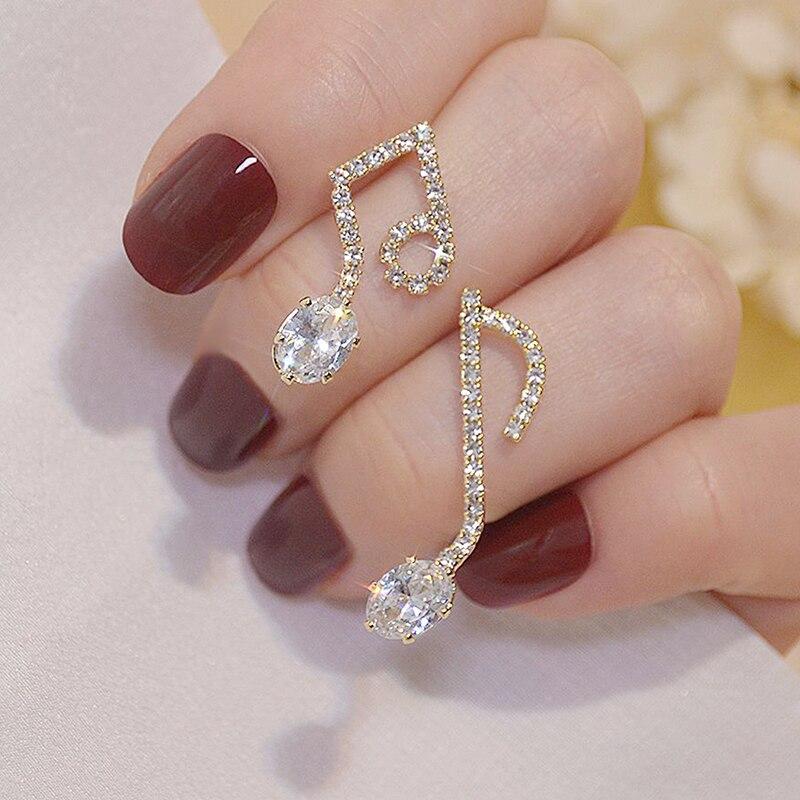 Ins Hot Sale Super Shine Pave Zircon Note Earring for Women AAA Cubic Zirconia Trendy Dazzling Stud Earrings Wedding Jewelry