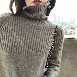 2019 Autumn and Winter New  Turtleneck Sweater Women's High Collar Loose Pullover Lazy Wind Sweater Large Size 4