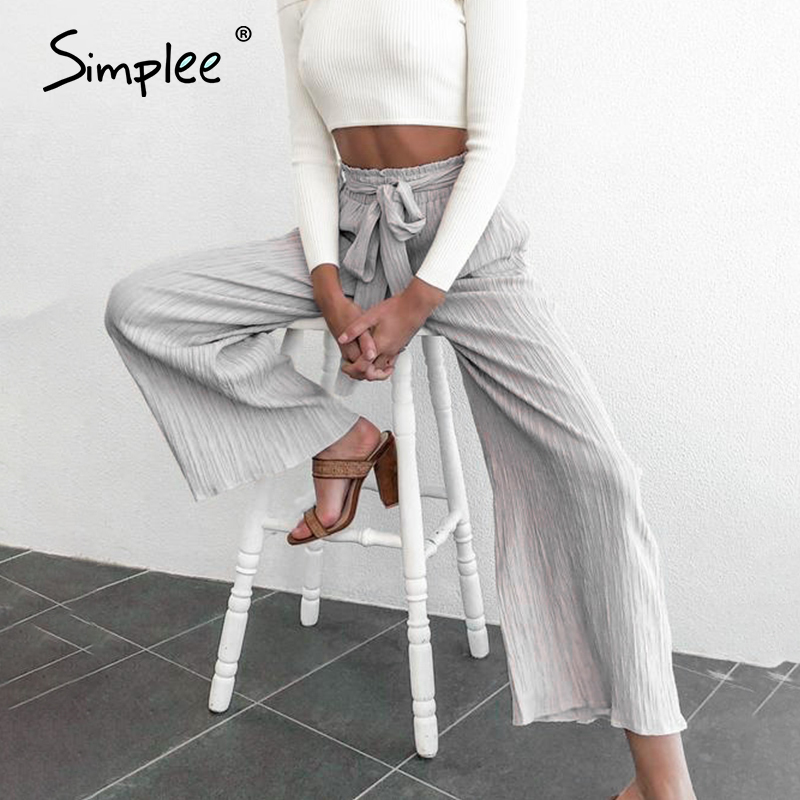 Simplee Casual Sash High Waist Women Pants 2020 Spring Summer Palazzo Long Wide Leg Pants Office Lady Work Trouser Female Pant