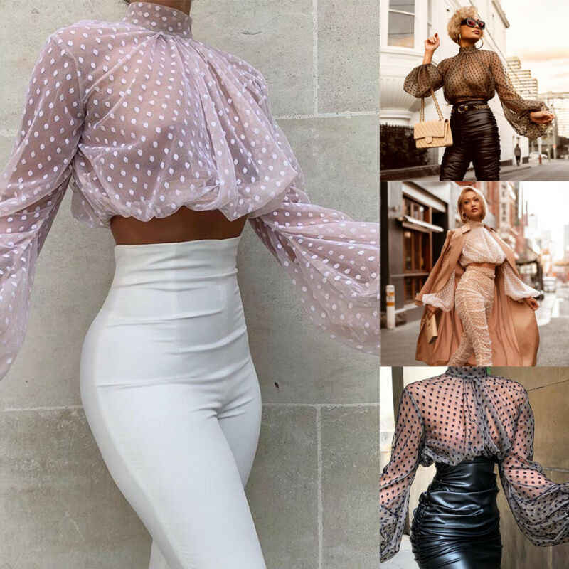 Fashion Wanita Puff Lengan Panjang T-Shirt Tops Kemeja See-Through Sheer Mesh Renda Sexy Crop Top Fesyen