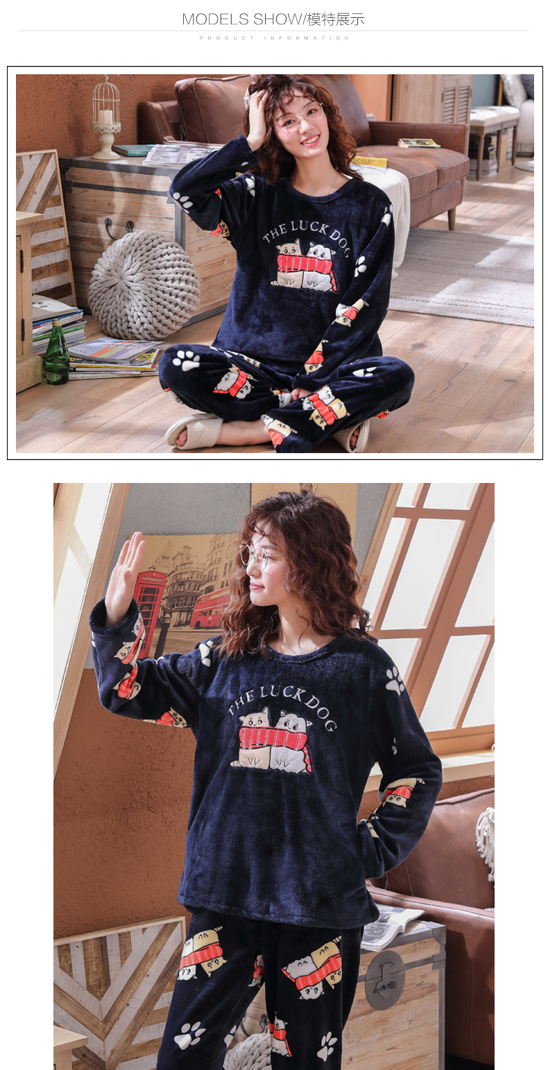 Long Sleeve Warm Flannel Pajamas Winter Women Pajama Sets Print Thicken Sleepwear Pyjamas Plus Size 3XL 4XL 5XL 85kg Nightwear 317