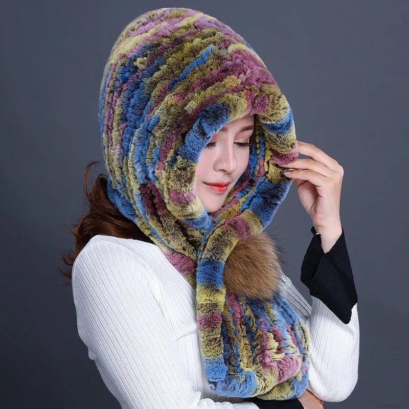 2019 new rex rabbit fur grass scarf hat dual-use hooded snow cap raccoon big ball fur hat furry warm ladies winter hat pompom