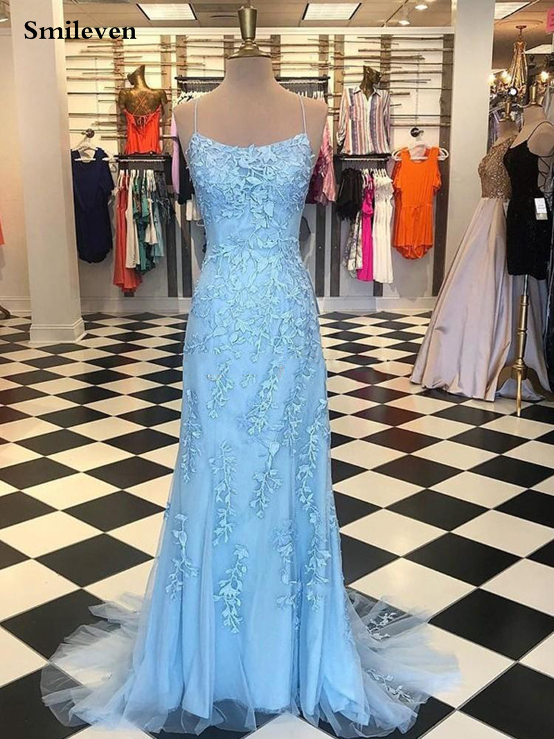 Light Sky Blue Lace Mermaid Prom Dresses Spaghetti Straps Appliques Tulle Long Backless Evening Gowns Formal Formal Party Gowns