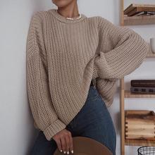 Chandail surdimensionné pour femmes, solide, tricoté en vrac, manches longues, pull pour femmes, 419 #, Automne