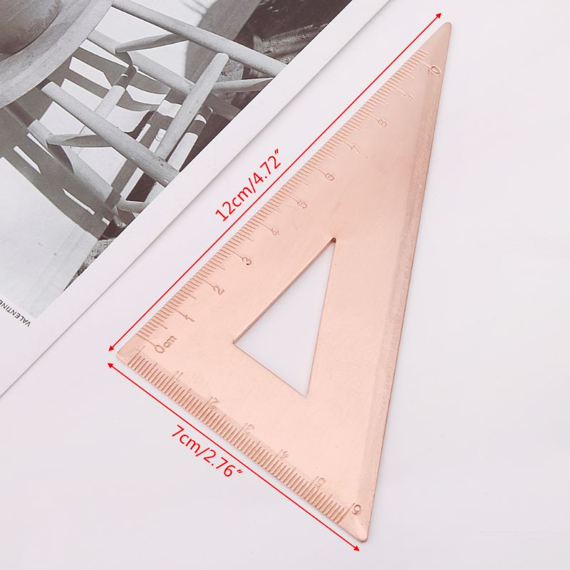 Retro Copper Triangle Ruler Right Angle Design Drawing Measurement Math Geometry Tool Stationery For Students