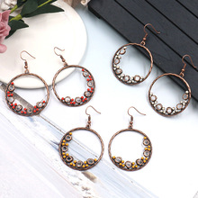 Ethnic Bohemian Antique Copper Round Circle Dangle Drop Earrings Handmade Minimalist Earring Women Jewelry