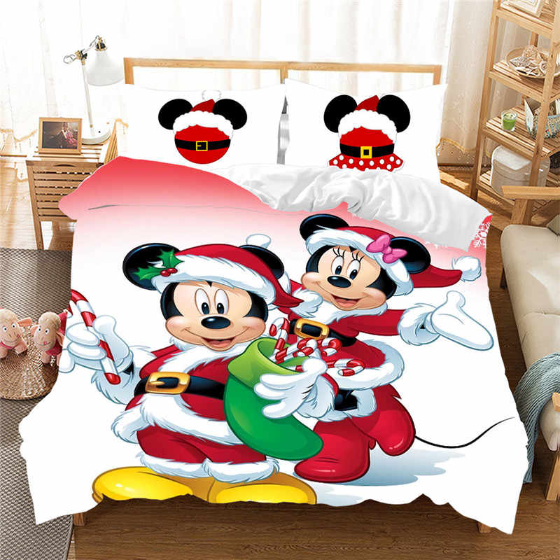 Christmas Mickey Minnie Bedding Set  Duvet Cover Pillowcase  Home Textile Bed Linens Children Gift King Size Bedding Set