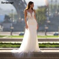 Sevintage 2 Pieces Boho Wedding Dresses Mermaid Lace Matte Satin Bridal Gown Appliqued Backless Beach Bride Dress Custom Made