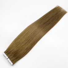 Tape-In-Extensions Human-Hair Bluelucky Remy Brown Color One-Donor-Light Straight-2.5g/Piece