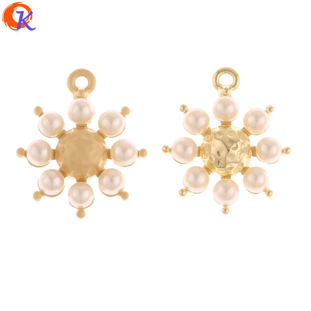 Cordial Design 50Pcs 20*23MM Charms/Jewelry Accessories/Flower Shape/Imitation Pearl/DIY Making/Hand Made/Earring Findings