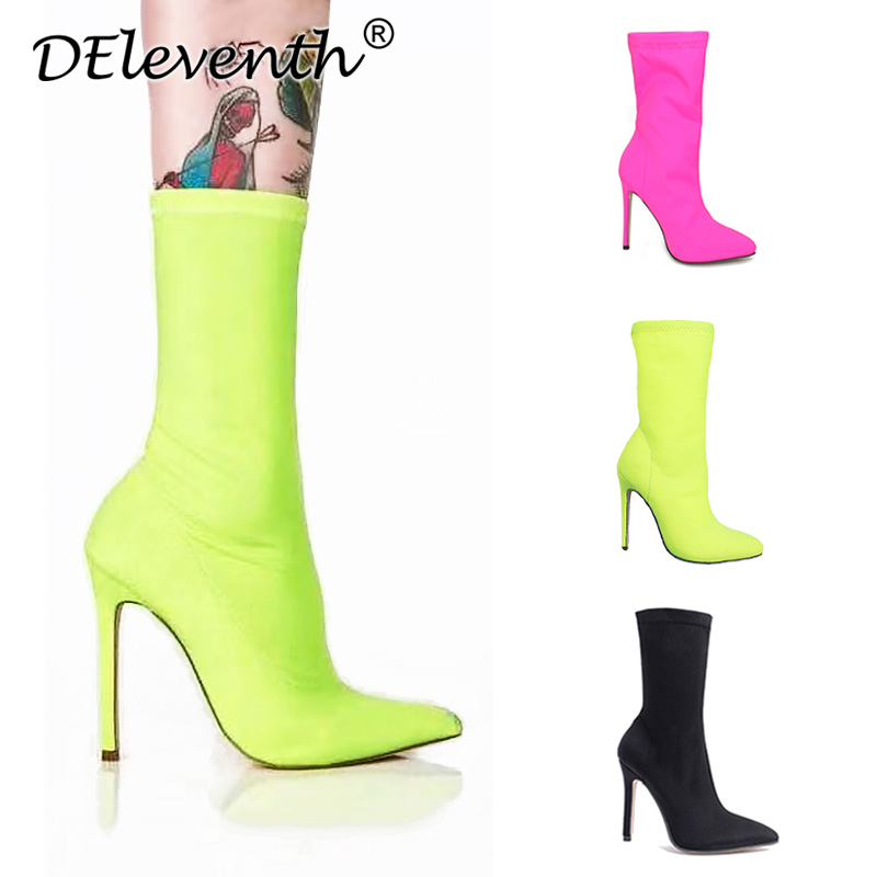 Women shoes Pointed Toe Elastic Boots Candy Color Cloth Boots High Heel Socks Boots Thin High Heels Women Shoes Pumps Size 35-43