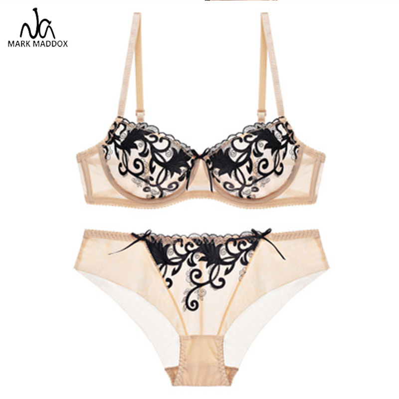 2019 Fashion <font><b>Sexy</b></font> Lace Push Up Bra Sets Bra+panties Ultra-thin Lace Breathable Bras Women Bralette A/<font><b>B</b></font>/C/<font><b>D</b></font> Cups for Ladies <font><b>Girls</b></font> image