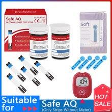 Aq seguro smart 50/100/200 pces tiras do teste de glicose no sangue com agulhas de lancets de para glucometer diabético da detecção do açúcar no sangue