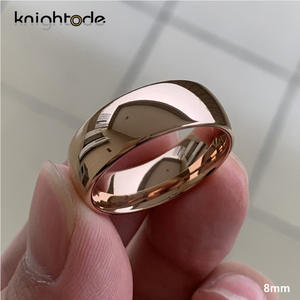 Wedding-Ring Engagement-Band Rose-Gold Dome Tungsten Carbide Women Classic 6mm 8mm