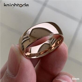 цена Classic Rose Gold Tungsten Wedding Ring For Women Men Tungsten Carbide Engagement Band Dome Polished Finish 8mm 6mm Ring онлайн в 2017 году