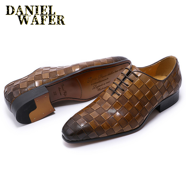 LUXURY ITALIAN LEATHER SHOES MEN NEW FASHION PLAID PRINTS