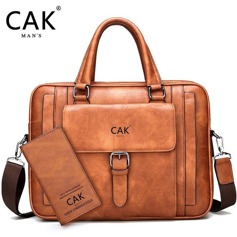 CAK Brand Bag  SizeBriefcase Male Man Laptop Bag Split Leather For Men Messenger Bags Men's Briefcases Business Black  Men's Bag