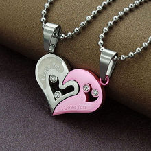 1Pair I Love You Black Gold Blue Pink Cat Crystal Heart Best Friend Couple Long Stainless Steel Chain Necklace Men Women Jewelry(China)