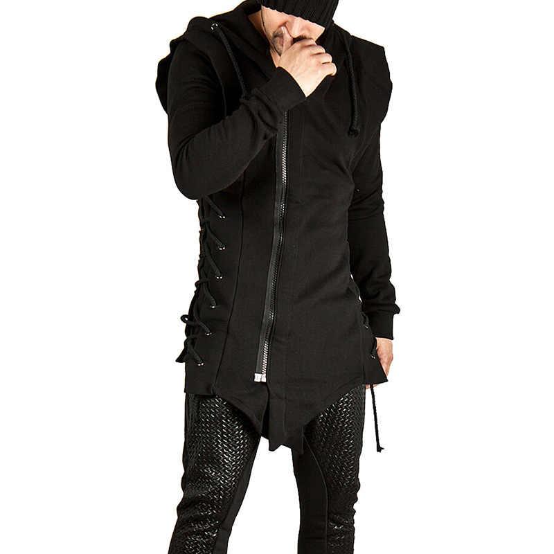 Assassin Creed Sweatercoat Dark Tie Slim Fit Hooded Jas Rits Hoodies Met Side Sjorren Gekruiste Black Dark Grey Hoodies Mannen