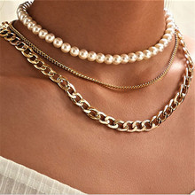 cmoonry 2021 Fashion Women Punk Jewelry Gold Chain Choker Necklace For Women Multilayer Imitation Pearl Necklace Party Jewelry