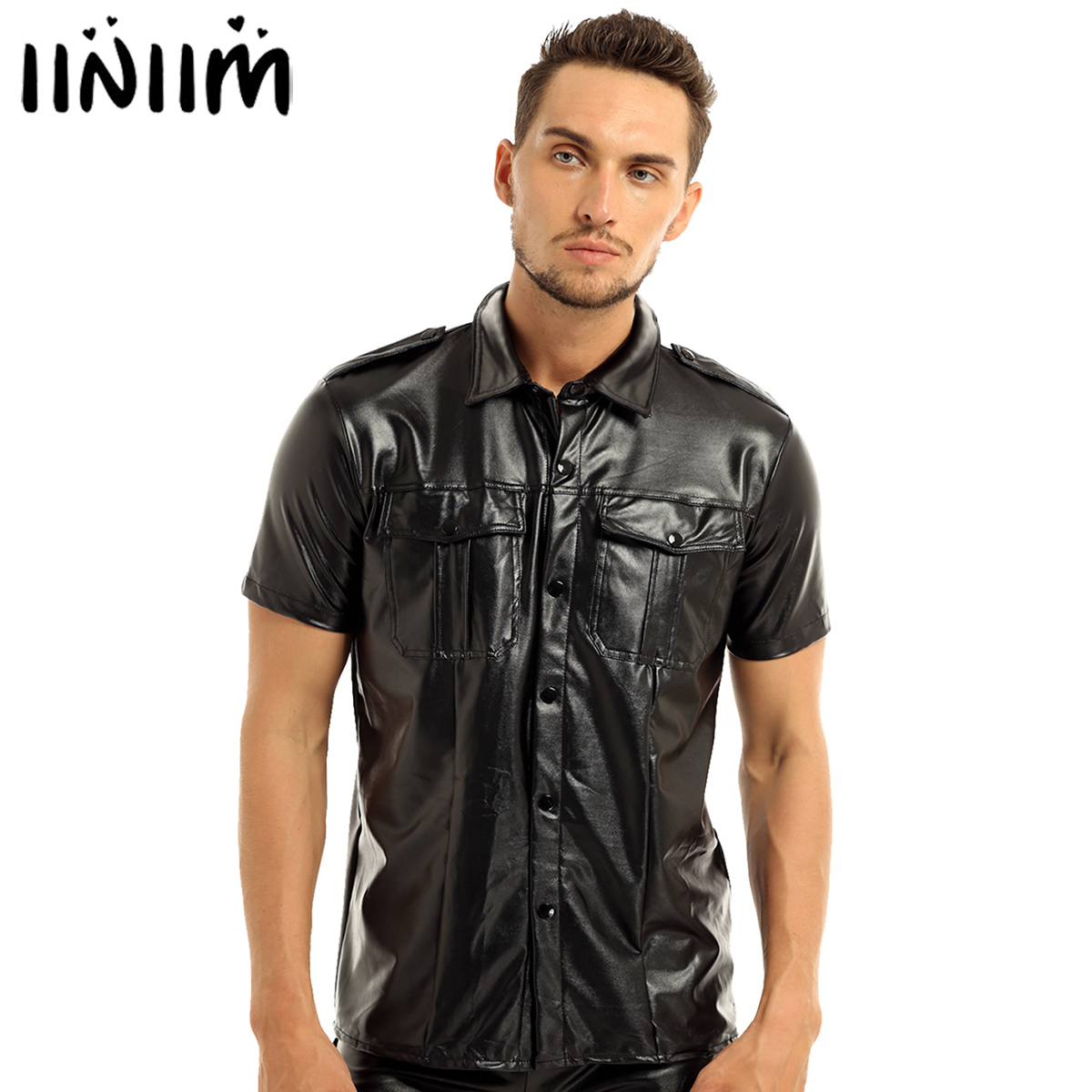 Iiniim Mens Faux Leather Short Sleeve Police Uniform Shirt With Down Collar Casual Shirts For Nightclub Party Costume