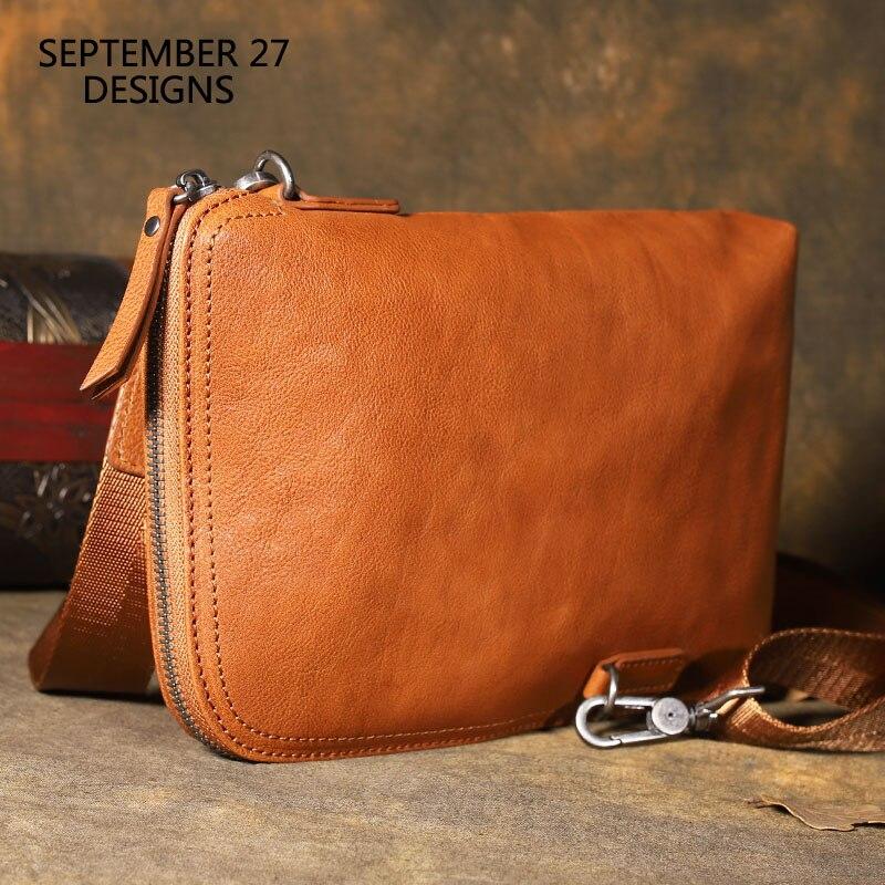 Hommes portefeuilles d'embrayage en cuir véritable rétro multifonctionnel sacs à main masculins 100% cuir de vachette Vintage Mini sacs à bandoulière femmes portefeuille-in Portefeuilles from Baggages et sacs    1