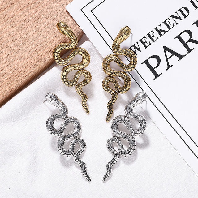Spaloria Vintage Punk Long Snake Stud Earrings For Women Fashion Personality Gold Color Animal Earring Female.jpg 640x640 - Spaloria Vintage Punk Long Snake Stud Earrings For Women Fashion Personality Gold Color Animal Earring Female Statement Jeweley