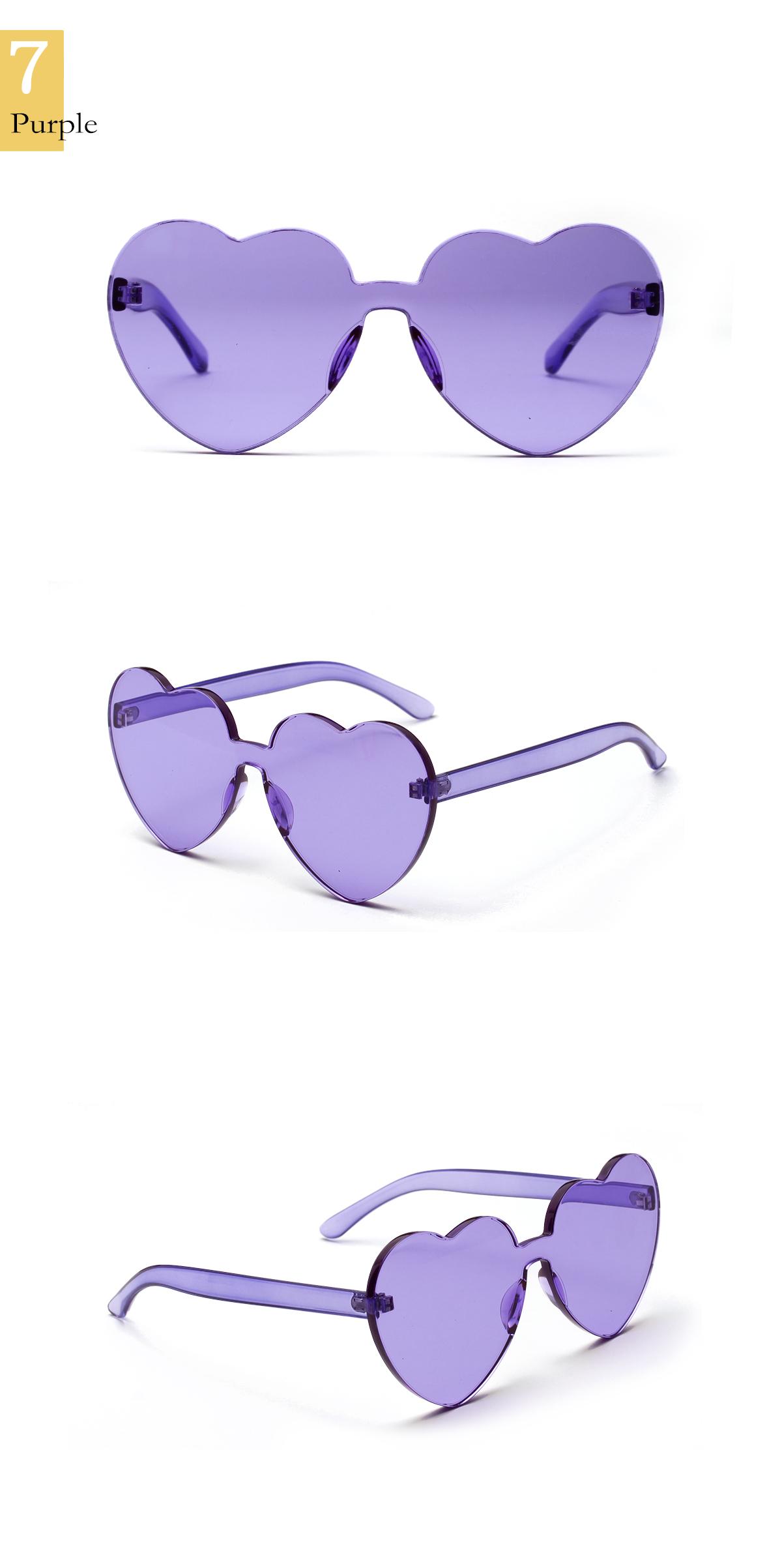 rimless one piece transparent lens sunglasses heart shape peach shape colorful sun glasses