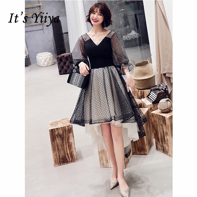 It's Yiiya Cocktail Dress 2019 Contrast Color Three Quarter Sleeve Formal Dresses High Low Party Night Short Robe Cocktail E1287